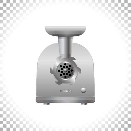 Electric meat grinder on transparent background. Front view of silver mincing machine. Kitchen utensil and electrical household appliance. Element for interior designs. Vector illustration.