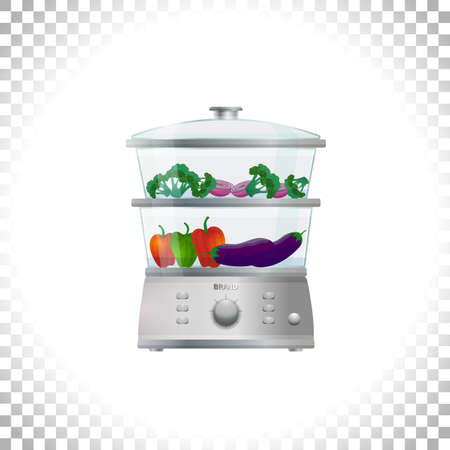 Electric food steamer or double boiler with vegetables. Front view. Household appliance. Kitchen steam cooker on transparent background. Element for interior designs. Vector illustration. Illustration
