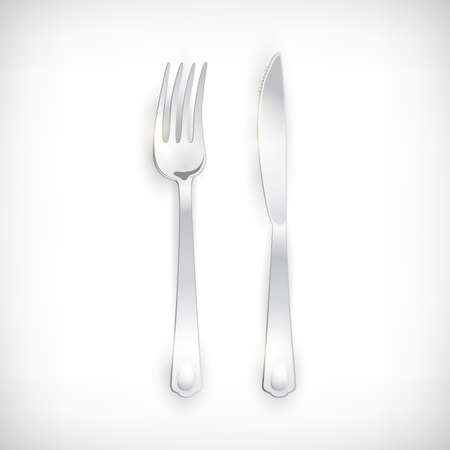 Cutlery set of silver fork and knife. Table Setting isolated on vignette background. Top view vector elements for web designs. Illustration