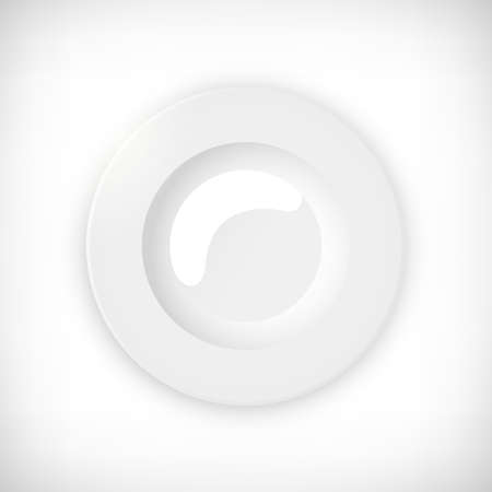 White empty round soup plate. Top view plate isolated on vignette background. Element for web design. Vector illustration.