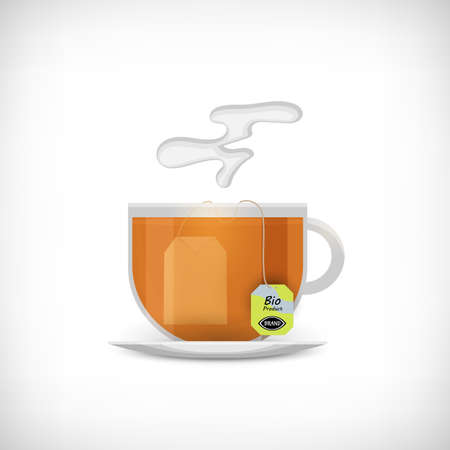 Tea cup icon. Transparent cup of tea. Tea bag and label with sign Bio Product. Vignette background. Flat style. Element for web design. Vector illustration.