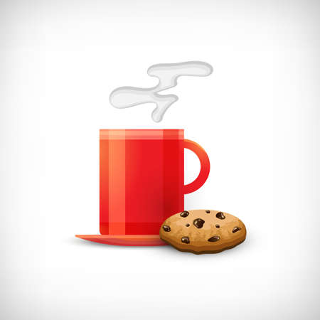 Coffee cup icon. Red cup of coffee or tea with realistic cookie. Vignette background. Flat style. Elements for web design. Vector illustration.