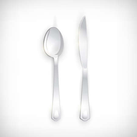 Cutlery set of silver spoon and knife. Table Setting isolated on vignette background. Top view elements for web designs. Vector illustration. Illustration