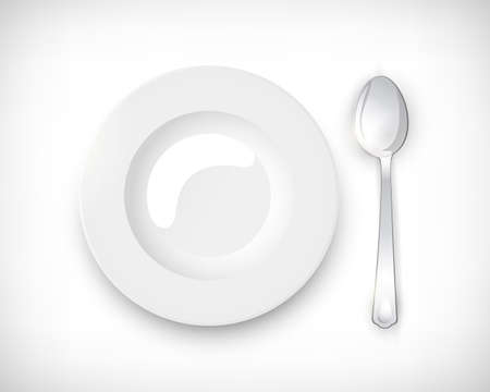 Top view white empty round soup plate with silver spoon. Table setting isolated on vignette background. Elements for web design. Vector illustration. Illustration