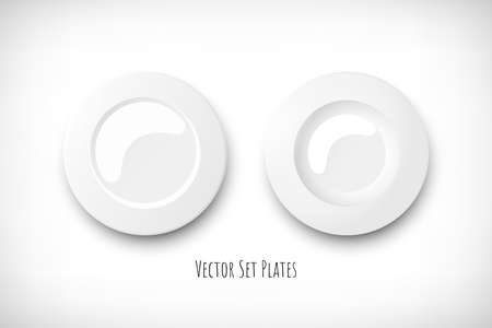 Set of two white empty round plates. Top view soup plate and classic plate. Vignette background. Elements for web designs. Vector illustration. Illustration