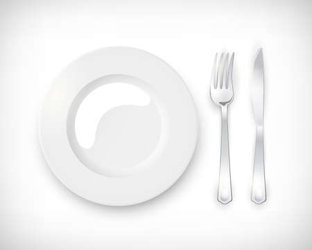 Top view white empty round plate with cutlery set of silver fork and knife. Table setting isolated on vignette background. Elements for web design. Vector illustration.