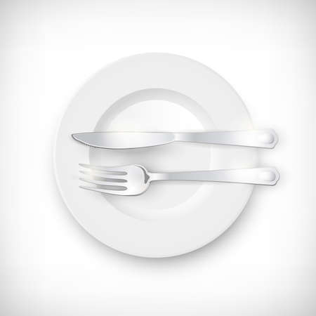 Top view white empty round plate. Cutlery set of silver fork and knife on the plate. Finish to eat concept. Table setting isolated on vignette background. Elements for web design. Vector illustration. Illustration