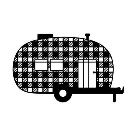 Buffalo plaid camper black silhouette. Mobile recreation. Camper sign with buffalo plaid texture.Camping concept laser cutting design. Vector illustration.