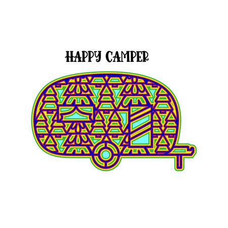 Happy camper Layered. 3d camper with ornament. Mandala layered design. Vector multilayer illustration.