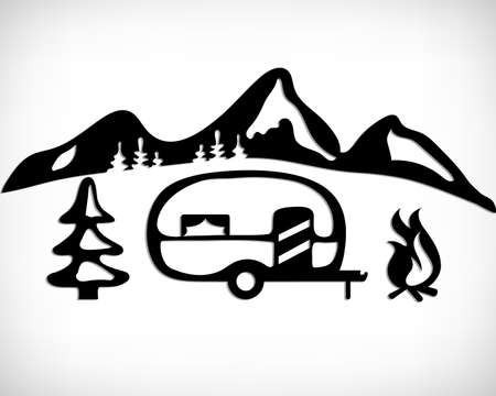 Camper nature silhouette. Mobile recreation. Camper sign with a tree and bonfire with mountain background. Sketch style vector illustration. Camping concept design.