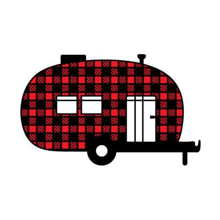Buffalo plaid camper silhouette. Mobile recreation. Camper sign with buffalo plaid texture.Camping concept laser cutting design. Vector illustration.