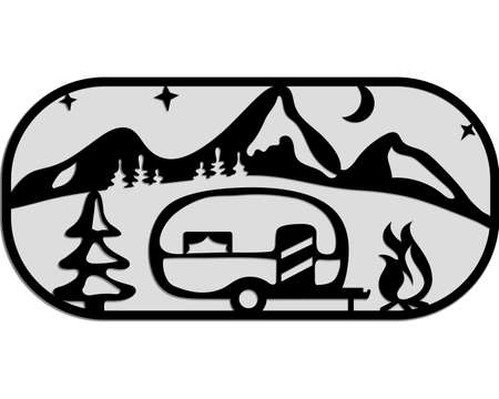 Camper silhouette. Mobile recreation. Camper, mountains, tree, bonfire, moon, stars, night. Sketch style vector illustration. Camping laser cutting design.