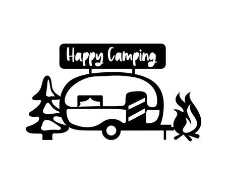 Camper silhouette. Mobile recreation. Camper sign, tree, bonfire, nature. Sketch style vector illustration. Camping laser cutting design.