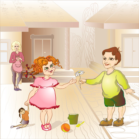 gallant: little boy give girl flower daisy Illustration