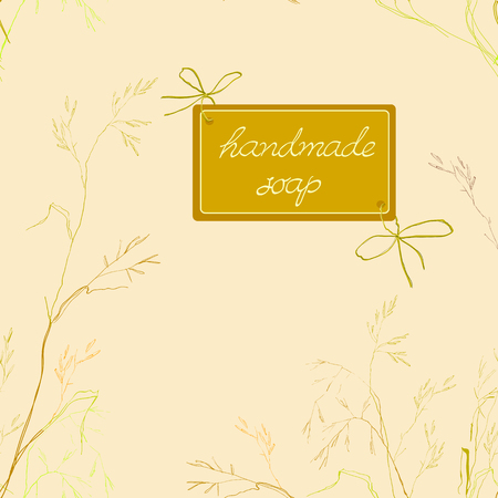 herbal background: Seamless vintage pattern with ink hand drawn medicinal herbs and plants sketch. Herbal background for handmade soap design. Illustration