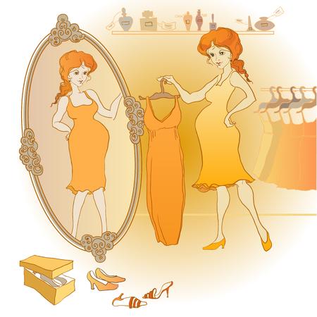 妊娠中の女性が店で鏡の前にドレスを選択します。