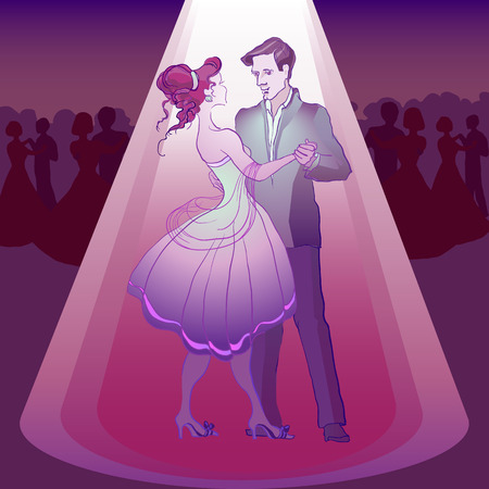 poise: Couple dancing waltz in the party  in the light Illustration