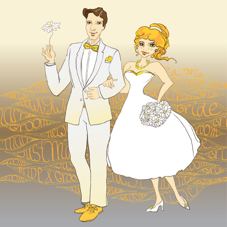 Hand drawn wedding couple with just married text background Vector illustration