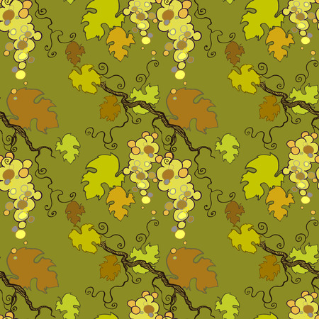 white grape: Seamless pattern with white grape from design of yellow  vine Illustration