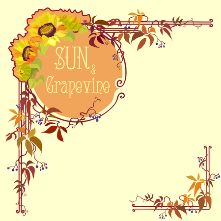 grapevine: Decorative label with sunflower and grapevine. Hand drawn vector line