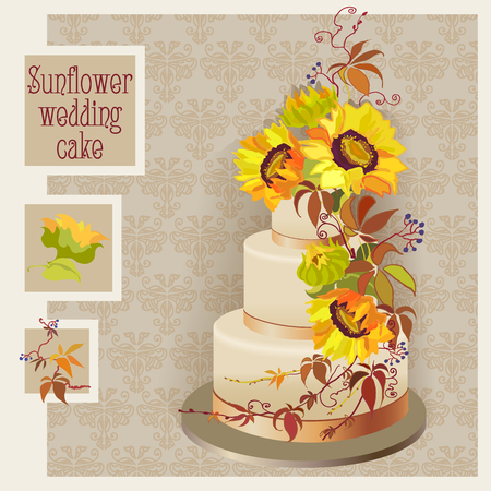 grapevine: Golden wedding cake design with sunflower and wild grapevine
