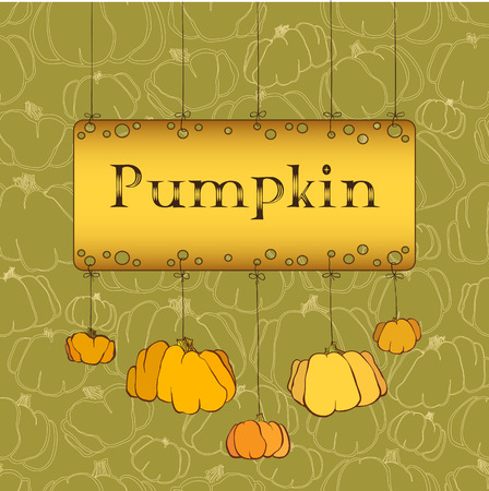 pocahontas: Happy Thanksgiving Day celebration banner or poster design with pumpkins on green background.