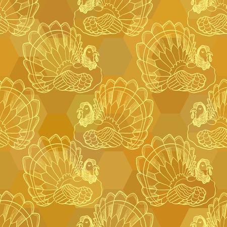Golden sienna Thanksgiving graphic seamless pattern with turkey