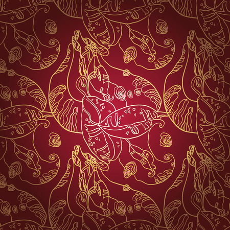 sewing pattern: Luxury golden lace ornament on deep red background. Seamless pattern Vintage Lace Doily.