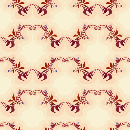 Seamless pattern with red leaves autumn wild grape in beige background