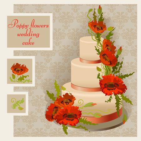orange cake: Wedding cake design with red and orange poppy flower and leaves on light background