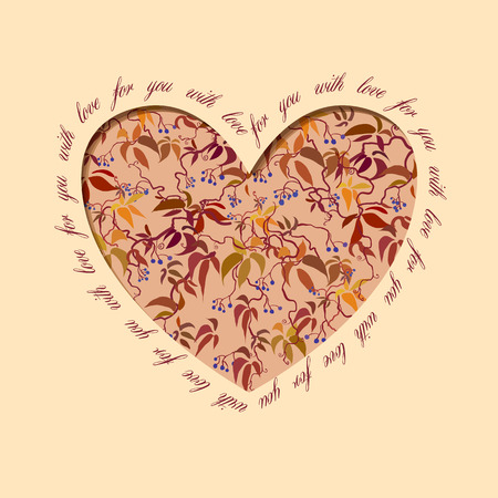grapevine: Autumn grapevine heart design with text - for you with love. Floral love card.