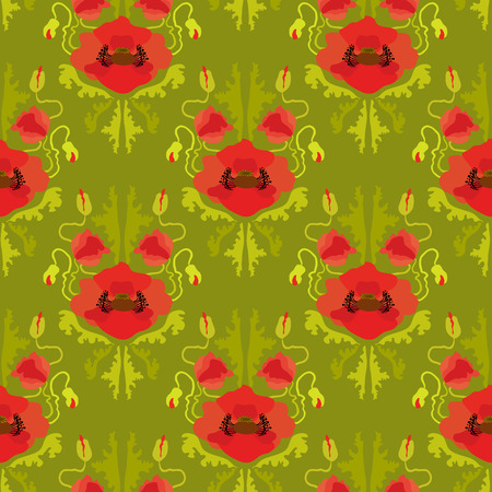 oldened: Poppies on green background. Vintage seamless pattern