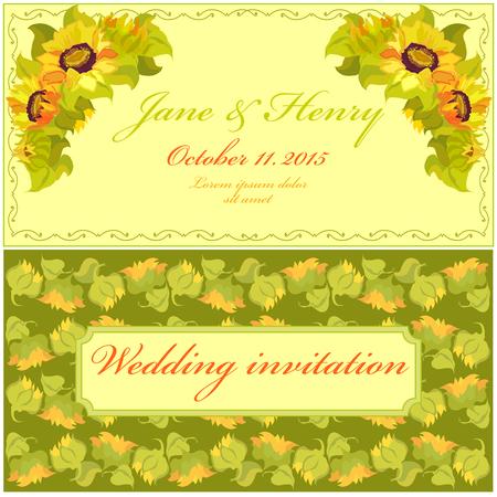 girasol: Amarillo invitación de la boda del girasol. Vector Vintage Diseño elegante. Vectores