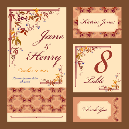grapevine: Set printable backgrounds to celebrate the wedding. Invitation card, table number, guest card. Vector illustration. Autumn grapevine branches and leaves.