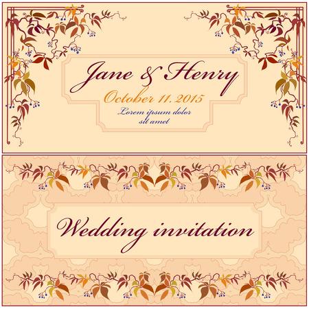 grapevine: Grapevine Wedding Invitation with cream background. Vintage Elegant Design.