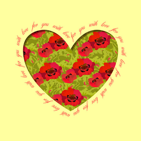 holidays for couples: Poppy heart design with text - for you with love. Floral love card.