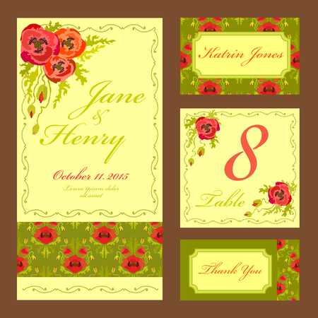 wedding table decor: Set printable backgrounds to celebrate the wedding. Invitation card, table number, guest card. Vector illustration. Red poppy flowers and green leaves on light yellow background. Illustration