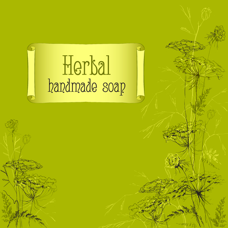 handmade soap: Green hand drawn herbs and plants sketch. Handmade soap design. Background for packaging design for a natural product or organic cosmetic. Vector illustration Illustration