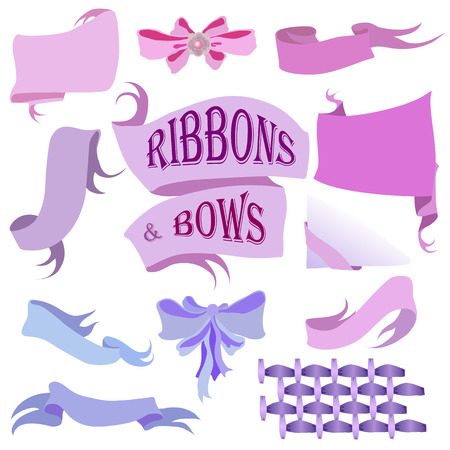 ribbons and bows: Ribbons and Bows Set, Isolated On White Background, Hand Drawn Vector Illustration