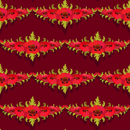 burgundy background: Poppies on dark burgundy background. Vintage seamless pattern