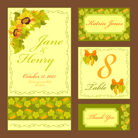 swirl border: Set printable backgrounds to celebrate the wedding. Invitation card, table number, guest card. Vector illustration.Yellow and orange sunflowers and green leaves on light yellow background.