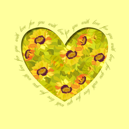 holidays for couples: Sunflower heart design with text - for you with love. Floral love card.