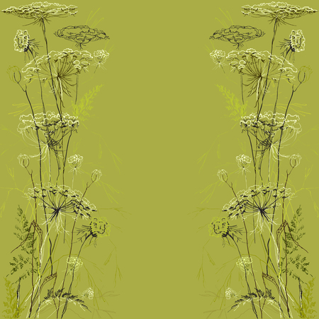 handmade soap: Green border herbs floral vector background. Hand draw meadow sketch background.
