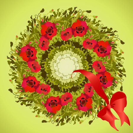 holliday: Red poppies flower wreath and ribbon with bow, circle frame. Vector illustration.
