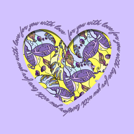 holidays for couples: Love card. Violet and yellow heart design with text - for you with love and abstract  floral pattern. Vector illustration.