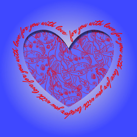 holidays for couples: Love card. Deep blue and red heart design with text - for you with love and abstract  floral pattern. Vector illustration. Illustration