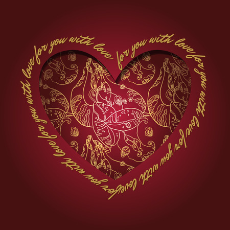 holidays for couples: Love card. Heart design with text - for you with love. Luxury golden lace ornament on deep red background.  Vector illustration.