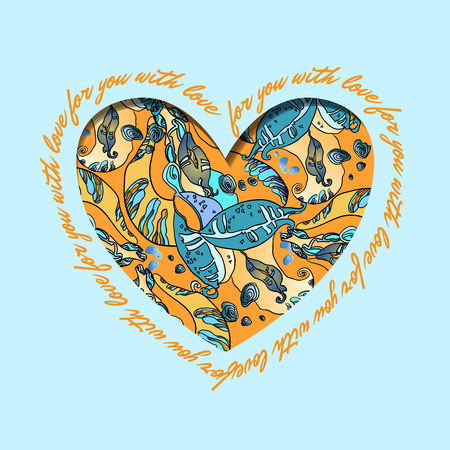 holidays for couples: Love card. Turquoise color, orange and yellow heart design with text - for you with love and abstract  floral pattern. Love card. Vector illustration.