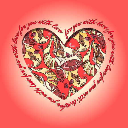 holidays for couples: Love card. Red and orange heart design with text - for you with love and abstract  floral pattern. Vector illustration.
