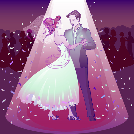 wed beauty: Couple dancing wedding dance in the spotlight. Vector illustration.